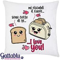 Federa per cuscino pan carrè e tostapane kawaii: sono cotto di te/mi riscaldi il cuore. I LOVE YOU! Idea regalo per San Valentino per lui o per lei, anniversario d'amore!
