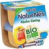 Nestlé Naturnes Bio Compotes bébé Pêche, Coing Dès 4/6 mois 2x115g