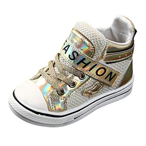 Dorical Unisex Kinder Freizeitschuhe Sneaker Sportschuhe Anti-Rutsch Kinderschuhe Turnschuhe mit Klettverschluss für Herbst Winter(Gold,24 EU) -