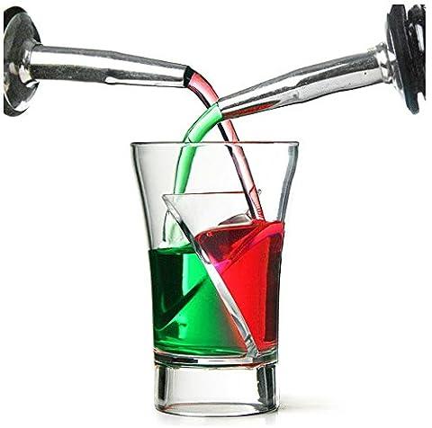 Plastic Twister Sip Shot Glasses - - 15ml+15ml/1.5cl+1.5cl | Clear Polystyrene Drinkware Range by Glassjacks