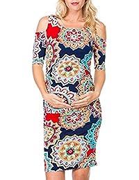 Amphia Vestido de Mujeres Embarazadas, Vestido de Maternidad de la Impresión de la Rueda Dentada