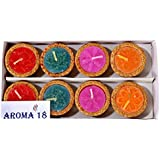 Aroma18 Diya For Decoration | Diya For Puja | Diya Holder Decorative | Diya Lamps For Pooja | Diwali Gifts And Decoration | Diwali Diya Earthen Clay Diyas Aroma Flora Wax Lamp Handmade Premium Set Home Decor Hindu Pooja - Reusable (Set Of 8, Handmade Mult
