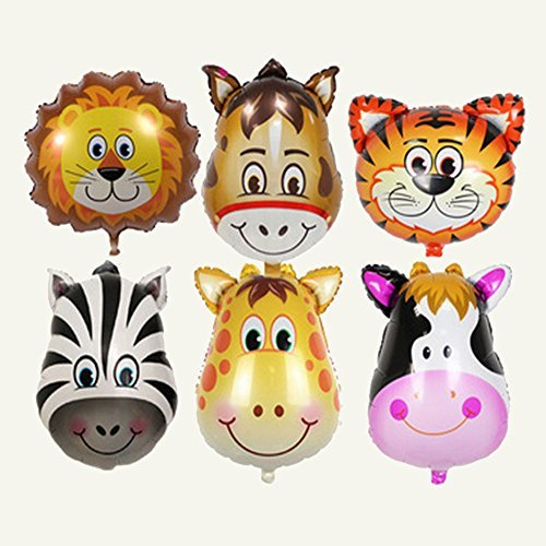 6 Stück Set Folienballons Tiere für Kinder Geburtstag und Party Dekoration (Ballon-tiere Zu Machen)