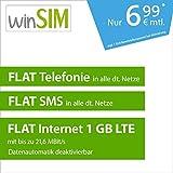 winSIM LTE All 1 GB Allnet Flat [SIM, Micro-SIM und Nano-SIM] 24 Monate Laufzeit (FLAT Internet 1 GB LTE mit max. 21,6 MBit/s mit deaktivierbarer Datenautomatik, FLAT Telefonie, FLAT SMS und FLAT EU-Ausland, 6,99 Euro/Monat)