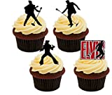 : Elvis Presley Silhouettes, Edible Cake Decorations - Stand-up Wafer Cupcake Toppers