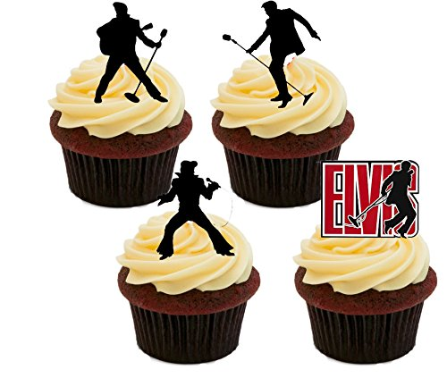 Made4You Elvis Presley Silhouettes, essbare Kuchendekoration–Stand-Up Wafer Cupcake-Dekoration, 12er-Pack (Presley-dekorationen Elvis)