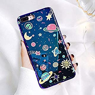 Planet iPhone Case,Easeu Reflective Blue Ray Cartoon Space Shiny Solar System Soft TPU Phone Case Holographic Back Cover for iPhone case (iPhone 7 Plus / 8 Plus)
