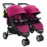 QXMEI Jumeaux Chariot Bébé Grand Quadruple Jambe Double Jambe Chariot Chariot,RoseRed-OneSize