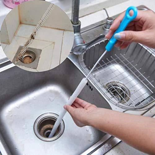 TAOtTAO Hauptküche-Badezimmer-Waschbecken-Haar-Reinigungs-Haken-Art-Boden-Entwässerungs-Abwasserkanal-Bagger (Blau)