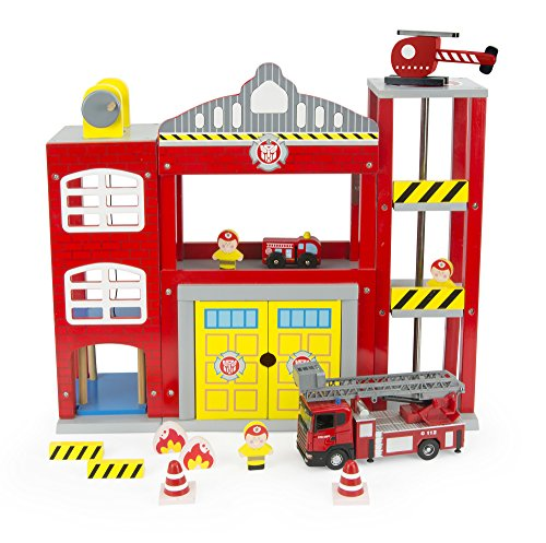 Leomark Quartier général de la brigade de pompiers avec camion de pompier Caserne de pompiers de bois Véhicule Miniatures Garage Parking À Voitures Voiture Métal modèle maison de poupée Scania