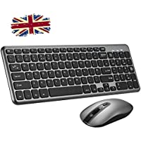 Wireless Keyboard and Mouse Set,【Scissor Key Design,Long Battery Life】Patuoxun Ergonomic 2.4G Cordless Keyboard & Mouse Combo with Nano USB Receiver for Computer PC Apple Mac Windows, UK Layout