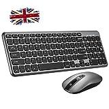 Wireless Keyboard and Mouse Set, 【Scissor Key Design, Ultra Slim, Silent Click】Patuoxun Ergonomic