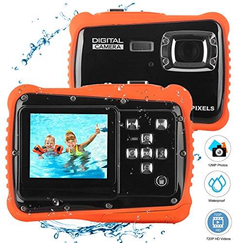 BYbrutek Cámaras para Niños, Cámara de Video de Acción Impermeable 3M para Niños HD 12MP, LCD de 2 Pulgadas, 4X Zoom Digital, Cámara Digital CMOS de 5 MP (Negro)