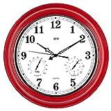 BEW Große Outdoor-Uhr, 18-Zoll-Stille Wanduhr mit Thermometer und Hygrometer Combo, wasserdicht, wetterbeständig, moderne Dekoration für Garten / Terrasse / Pool / Zuhause (Metall, Empire Red)