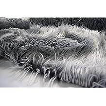 Fabrics de City Blanco flokati Lanuda Pelo Piel de pelo largo 55mm Plástico policíclicos, 4412