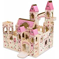 Melissa & Doug Folding Princess Castle Wooden Doll's House With Drawbridge and Turrets