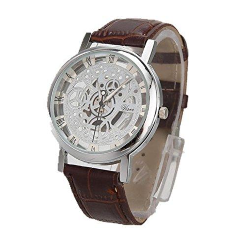 Sonnena Herren Armbanduhren, Luxuriös Männer Business Mode Lederband Armbanduhren Kristall Analoge Quarz Uhr Herrenuhr Klassik Vintage Edelstahl Handgelenk Uhr Sportuhr (L)