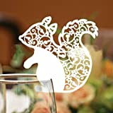 50 Pack White Laser Cut Squirrel Wedding Table Number Name Place Cards Wedding Party Decoration Favor by dreammadestudio