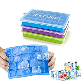 Ice Cube Trays 3 Pack, Acmetop Silicone Ice Molds with Removable Lid Easy-Release Flexible Ice Cube Tray 24 Cubes per Tray for Cocktail, Whiskey, Baby Food, Chocolate, BPA Free, LFGB Certified