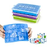 Morfone Eiswürfelform,3 Stück Silikon Eiswuerfel Form Eiswuerfelbehaelter Mit Deckel Ice Cube Tray, Eiswürfelformen Eiswürfel Form, LFGB Zertifiziert, 24-Fach