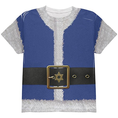 Weihnachten Chanukka jüdisches Santa Claus Kostüm auf der ganzen Jugend T Shirt Multi (Chanukka Kostüme)