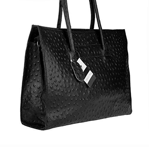 Made in Italy echt Leder DIN-A4 Strauß Prägung Business Aktentasche Tasche Schultertasche Handtasche Henkeltasche 40x30x10 (BxHxT) (Schwarz) Schwarz