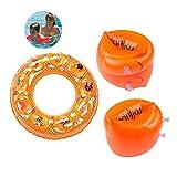 TECHSHARE Kinder Schwimmflügel, PVC Schwimmhilfe für Kleinkinder und Babys, Schwimmring Schwimmreifen für Kinder von 3-5 Jahre (Orange)