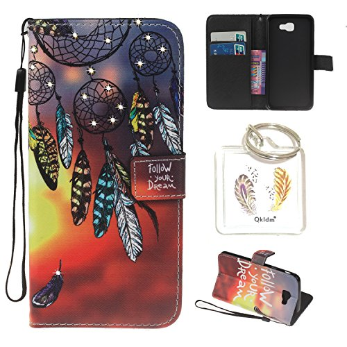 Preisvergleich Produktbild für Galaxy J3 (2017 Edition) PU Leder Silikon Schutzhülle Diamant Handy case Book Style Portemonnaie Design für Samsung Galaxy J3 (2017 Edition) + Schlüsselanhänger (RED) (1)