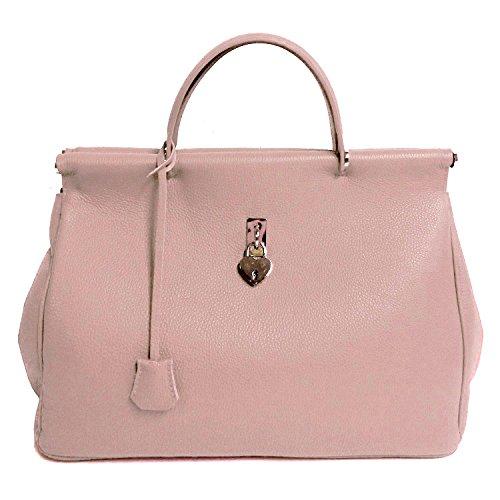 Borsa DEEP ROSE in Vera Pelle Donna Made in Italy a spalla mano shopper pelle con tracolla regolabile ALMA (rosa)