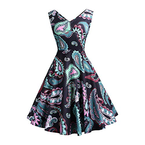 Kleid 50er Jahre Rockabilly Damen Vintage Polka Dots Blumendruck Bodycon Ärmellos Casual Abend Prom Swing Kleid Röcke Petticoat