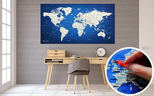 Weltkarte XXL 130 x 70 cm Zum Pinnen | World Map Wandteppich Als Pinnwand Mit 20 Fähnchen / Pins | Markiere Die Orte An Denen Du Warst | Die Geschenkidee Für Freunde Von Reisen Und Deko (Große Weltkarte)