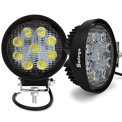 Safego 27WR-SP-2 2X 27W Led Lampes De Travail Lampes De Brouillard Spot Projecteur Led Véhicule Phare Bar Pour Tout-Terrain Chantier Suv Atv Camions Hors Route Bateau Camions De Pompiers