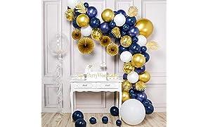 PartyWoo Ballon Or Bleu Marine, 108 pcs Feuilles, Vigne, Chaîne de Perles, Éventail, Bobo Ballon, Ballons Bleu Marine, Ballon Blanc, Ballon Confettis, Ballon Or, Ballon Transparents, Kit Ballon Outil