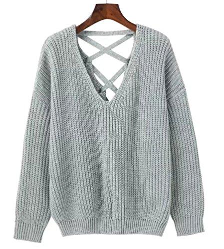 YAANCUN Donna Design Hollow V-collo Profondo Camicia Manica Lunga Felpa Maglione Cappotto Pullover Grigio