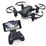 YouCute X01HW FPV Drone with 720P HD WiFi Camera Live video Mini RC Foldable Quadocopter with Altitude Hold Headless Mode Easy to Fly for Beginners Kids and Adults (Black with 720P camera)