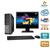Dell Lot PC Optiplex 3020 SFF Intel G3220 3GHz 2Go 80Go DVD W7 + Ecran 19' (Reconditionné Certifié Grade A)