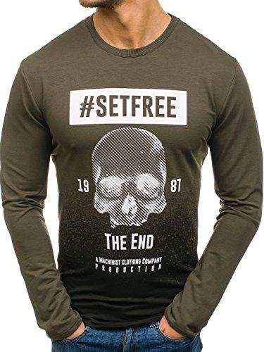 BOLF Herren Sweatshirt ohne Kapuze mit Rundhalsausschnitt Street Style Motiv Machinist M03 Grün S [1A1]