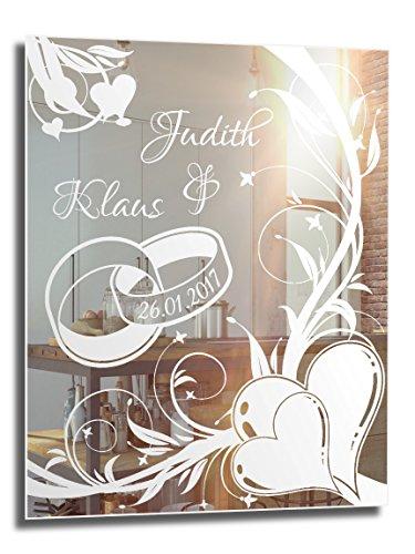 Motivspiegel Ehe 1 ★ 45x60cm ★ Geschenk zur Hochzeit ★ Wedding ★ personalisiert