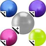 EXERCISE GYM YOGA SWISS BALL FITNESS PREGNANCY BIRTHING ANTI BURST BALLS 55CM / 65CM / 85CM + HAND PUMP (Pink, 55cm)