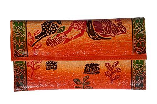 Zint, pochette portafogli in pura pelle dipinta a mano, stile etnico, stile boho, con cervo