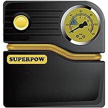 SUPERPOW Compresor de Aire Portátil, Bomba Inflador de 12V/120 PSI/3 Metros Cable/Inflar Coche, Bici y Pelotas de Deporte dentro de 4 Minutos