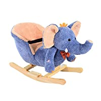 HOMCOM Children Kids Rocking Horse Toys Plush Elephant Rocker Seat with Sound Toddler Baby Gift