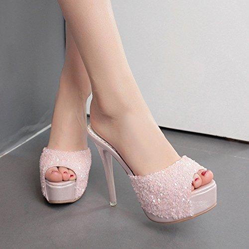 ZYUSHIZ Die Feinen mit Frau 12 cm High-Heel wasserdicht Desktop synthetischer Diamant Sandalen Hausschuhe 35