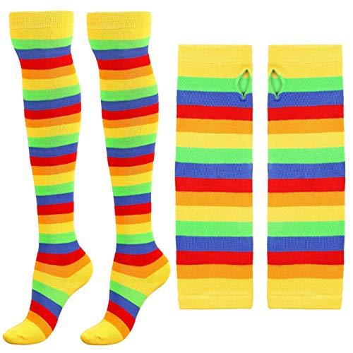 CHIC DIARY Damen Kniestrümpfe mit Regenbogenstreifen, Oberschenkelhoch, Armwärmer, fingerlos, Zubehör-Set - Gelb - Einheitsgröße -