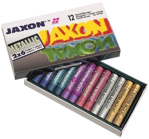 Honsell 47410 - Jaxon Ölpastellkreide, 12er Set, 2 x 6 Metallic-Farben im Kartonetui, brillante, lichtechte Farben, für Künstler, Hobbymaler, Kinder, Schule, Kunstunterricht, frei von Schadstoffen