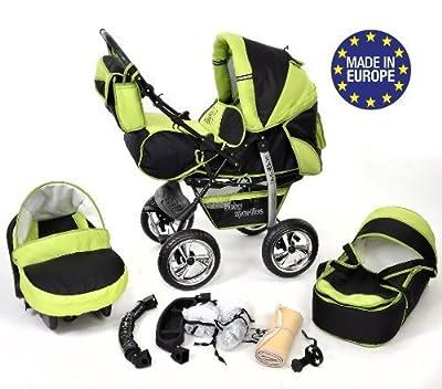 Baby Sportive - Sistema de viaje 3 en 1, silla de paseo, carrito con capazo y silla de coche, RUEDAS ESTÁTICAS y accesorios, color negro, verde