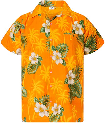 Funky Camisa Hawaiana, Manga Corta, Small Flower, Amarillo, 2XL
