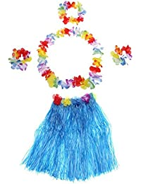 TOOGOO(R) 5Pcs New Hawaii Hula Skirt Set Handmade Grass Skirts Blue