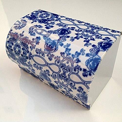 Base-uhr Stehen (QXJR WC Papierhalter,Bad Tissue Box,Toilettenpapierhalter,Edelstahl Dauerhaft Einfache Installation Elegant Toilettenpapierfach Badezimmer-Blaues und weißes Porzellan)