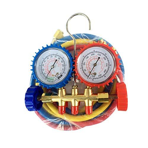 Hnourishy Kfz-Klimaanlage Fluorid Tisch Edelstahl Digitalanzeige Kältemessgerät mit Doppelventil (Low Pressure Air Pressure Gauge)